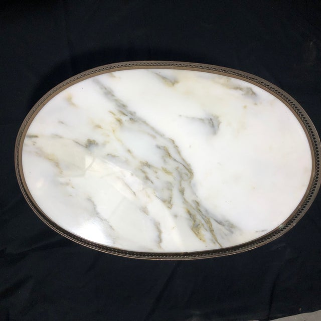 French Louis XVI Style Oval Oak Marble Topped Side Table For Sale - Image 4 of 8