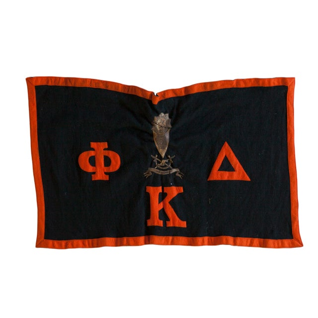 Vintage Black and Orange Sorority Felt Banner For Sale