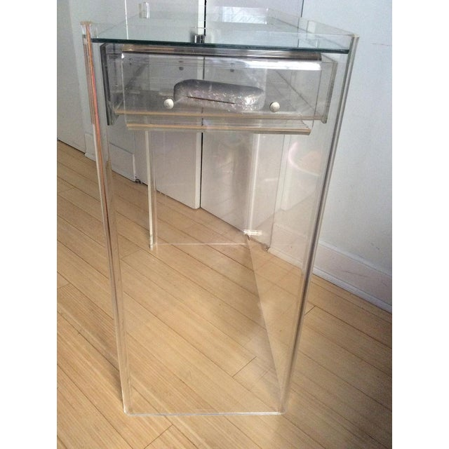 Lucite Mirrored-Drawer Vanity & Stool - A Pair - Image 8 of 13