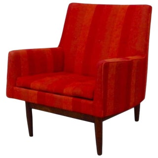 Jens Risom Walnut Base Lounge Chair in Original Fabric For Sale