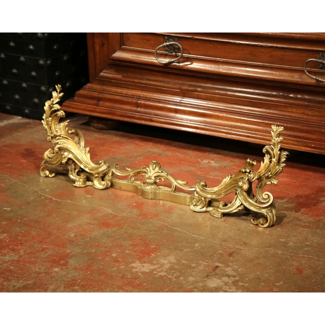 Bronze 19th Century French Gilt Bronze Chenets with Matching Fender - a Pair For Sale - Image 7 of 11