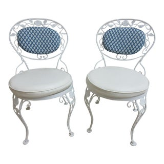 Vintage Woodard Wrought Iron Patio Side Chairs - A Pair