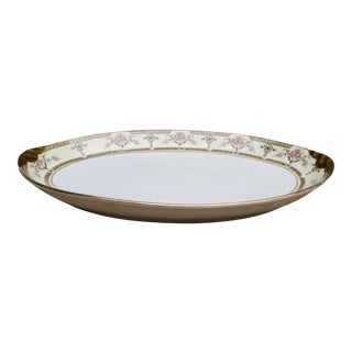 1910s Gold Rim and Light Yellow Limoges Uc Serving Tray For Sale