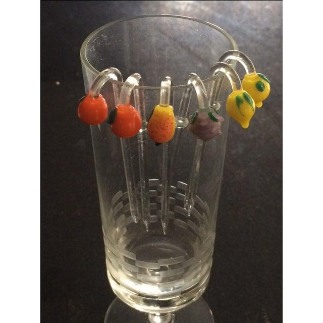 Mid-Century Modern MCM Handblown Glass Swizzle Sticks Set - 6 For Sale - Image 3 of 8
