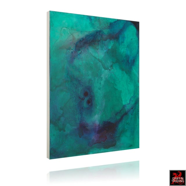 AN23 Green, Blue and Purple Abstract Painting For Sale - Image 4 of 10