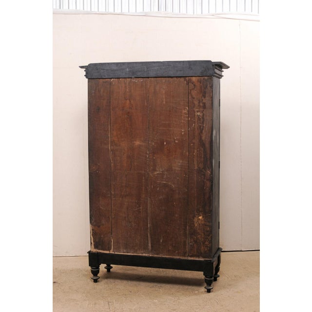 British Colonial Tall Mid-20th Century British Colonial Ebonized Wood Cabinet For Sale - Image 3 of 12