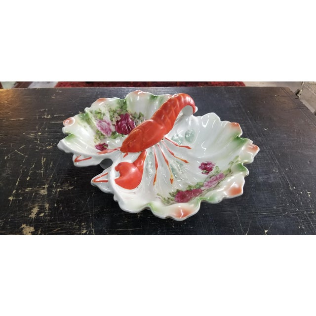 Made in Germany. Rose floral pattern, gold trim is faded & has a factory crack. A unique serving piece for your table.