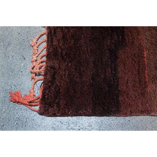 Abstract Vintage Moroccan Brown Tribal Berber Rug For Sale - Image 3 of 5