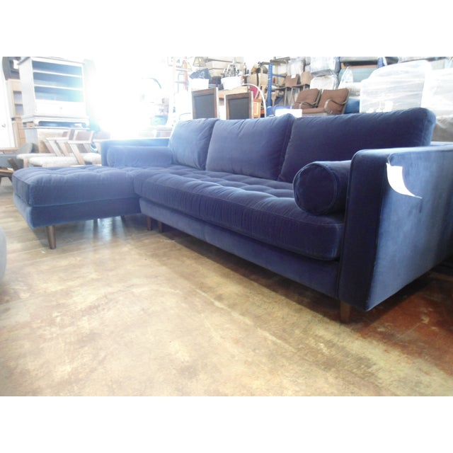 Navy Blue Velvet Sectional W/ Tufted Seat, Left Chaise For Sale - Image 4 of 6