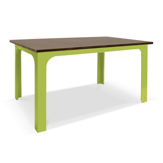 "Contemporary Craft Kids 42"" Table in Walnut With Green Finish For Sale - Image 3 of 3"