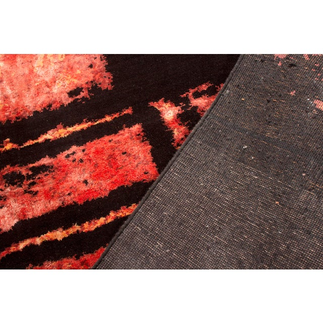 Hand Knotted Mid-Century Fire Inspired Wool and Silk Rug For Sale In New York - Image 6 of 7