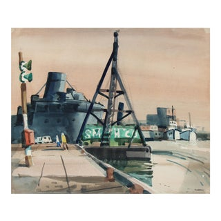 Industrial Harbor Scene in Watercolor, Mid-Century