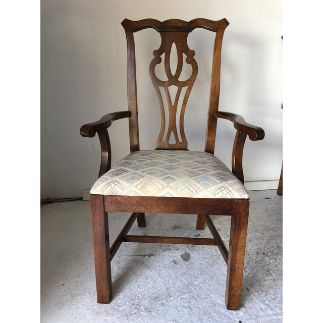 Blue Thomasville Dining Chair Set (6) Fruitwood Excellent For Sale - Image 8 of 9
