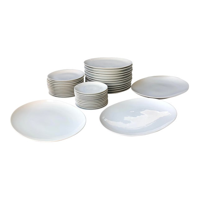 Mid Century Raymond Loewy Continental China Rosenthal White Dinnerware - Set of 39 For Sale