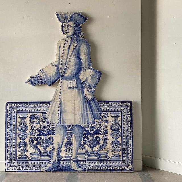 Blue 19th Century Portuguese Blue and White Glazed Figural Azulejo For Sale - Image 8 of 8