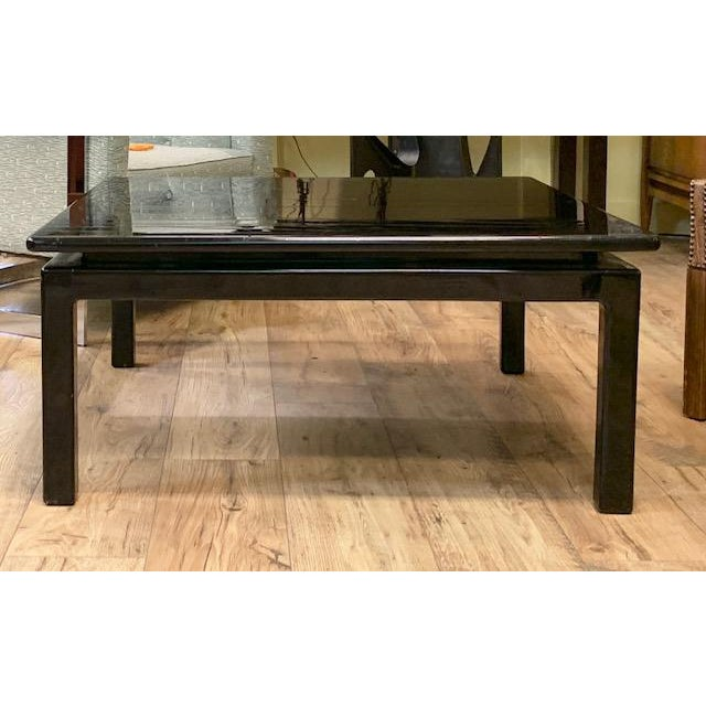 Boho Chic Mid Century Italian Black Lacquered Float Top Coffee Table For Sale - Image 3 of 10