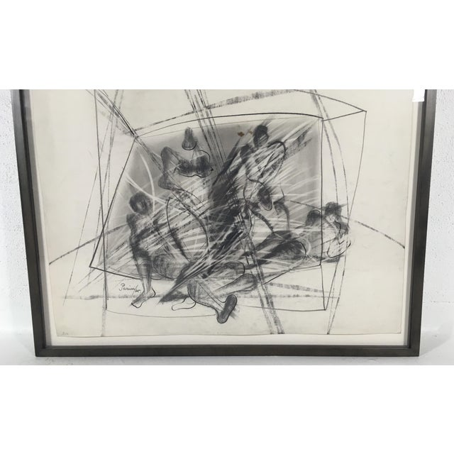 This is an artist signed and dated drawing charcoal on paper. This drawing is not matted, it is floating in a shadow box...