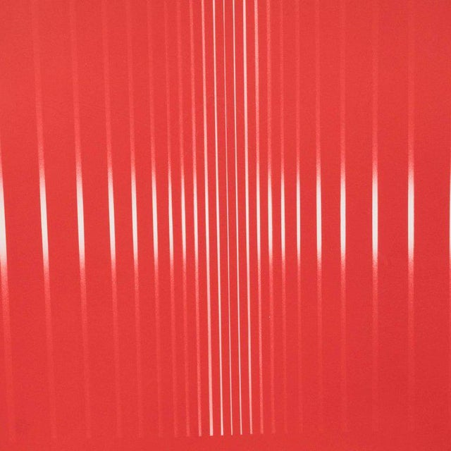 Op Art Dynamic Mid-Century Modern Op-Art Signed Serigraph by Ennio Finzi in Vibrant Red For Sale - Image 3 of 10