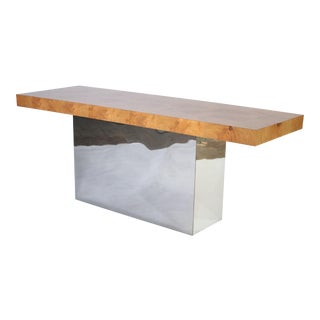 Milo Baughman Patchwork Burl Wood and Chrome Console Table For Sale