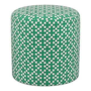 Drum Ottoman in Green Hopscotch For Sale
