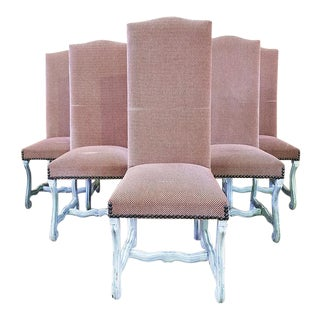 French Louis XIII Style Ash Pink Reupholstered High Back Whitewashed Dining Chairs - Set of 6