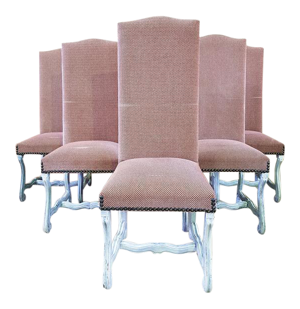 French Louis XIII Style Ash Pink Reupholstered High Back Whitewashed Dining  Chairs   Set Of 6 | Chairish