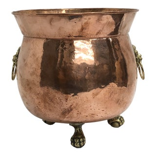 English Copper Jardiniere With Lion Ring Handles For Sale