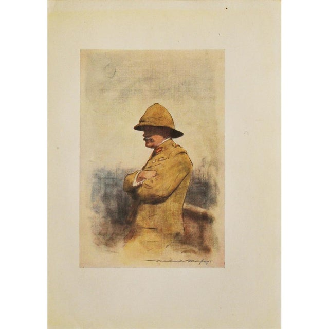 Original lithograph of watercolor portrait of famous Field Marshal Archibald Percival Wavell, Major-General, 1st Earl...