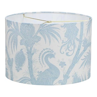 Large Drum Lamp Shade in Scalamandre Balinese Peacock Sky For Sale