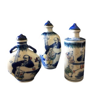 Blue & White Snuff Bottles S/3 For Sale