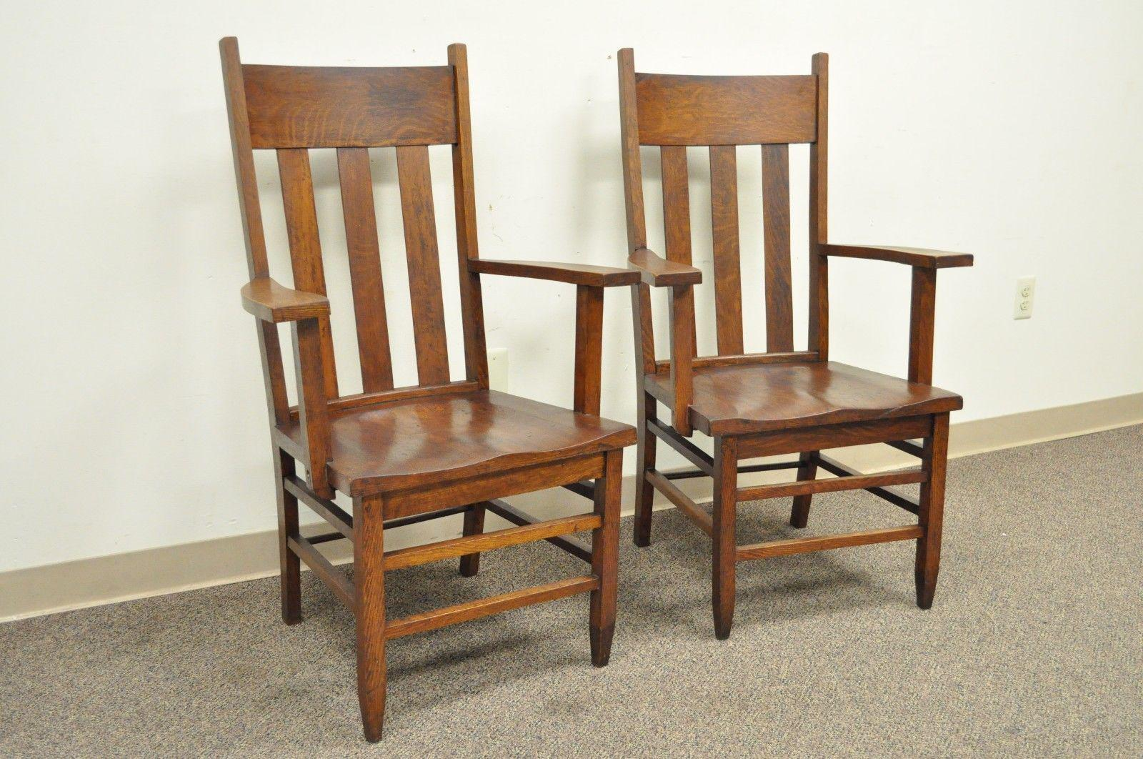 Item: Pair Of Antique Mission Amish Shaker Style Oak Armchairs By Culler  Furniture Company Of