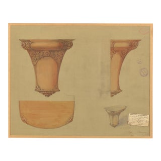 1900s French Original Perspective Drawing For Sale