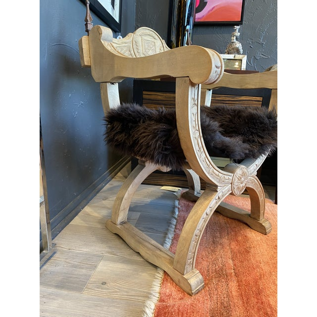 Carved Oak Throne Chair With Shearling Seat For Sale In Los Angeles - Image 6 of 10