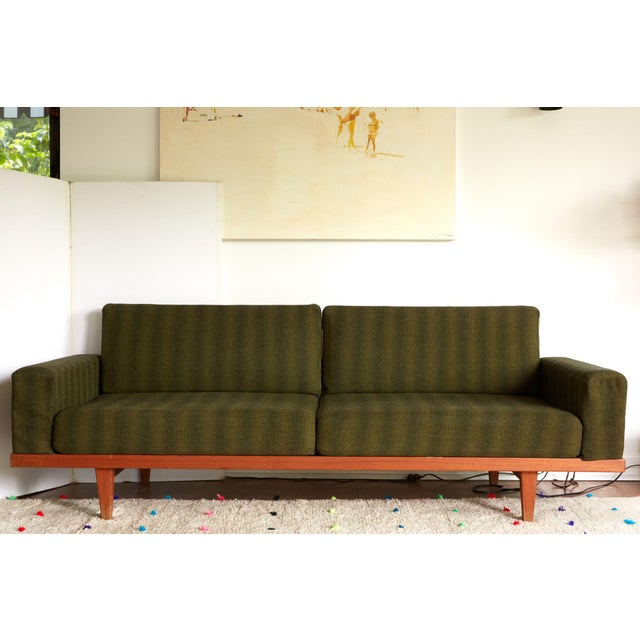 Vintage Danish Modern Green Striped Wool Couch - Image 8 of 9