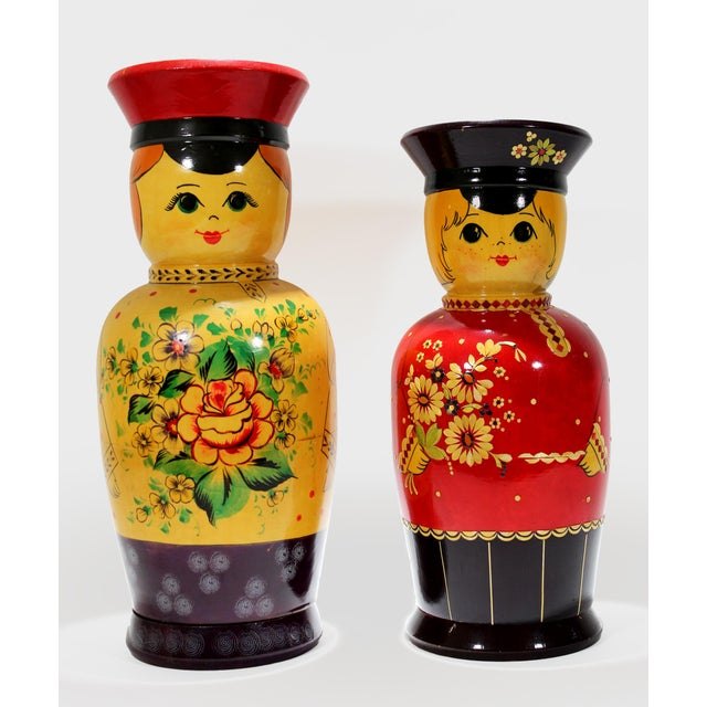 Vintage Russian Bottle Holding Soldier Dolls, Set of 2 For Sale - Image 11 of 11