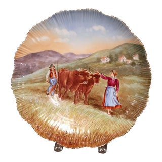 Large 19th Century French Hand Painted and Gilt Porcelain Wall Platter With Cows For Sale