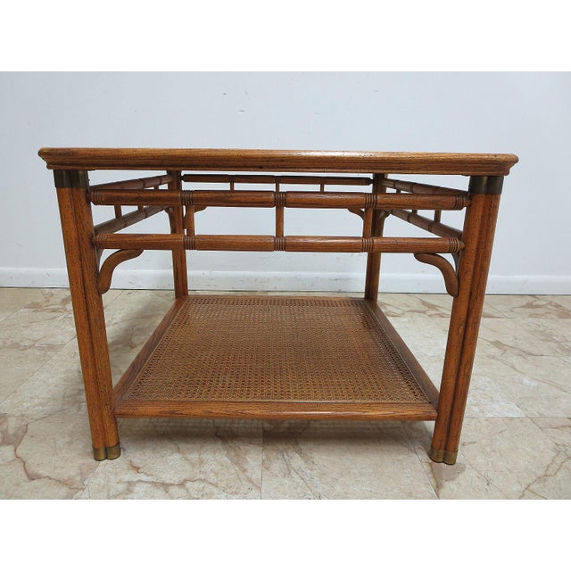 Vintage Mid-Century Campaign Faux Bamboo Carved End Table For Sale In Philadelphia - Image 6 of 11