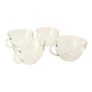 Midcentury Clear Boopie Pattern Teacups S/4 For Sale