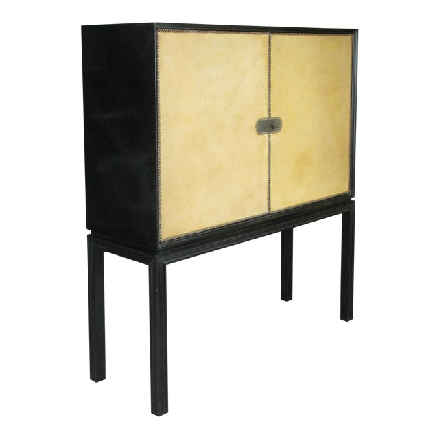 1940s Tommi Parzinger Lacquered Leather Bar Cabinet For Sale
