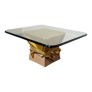 Pink and Gold Hollywood Regency Draped and Roped Coffee Table For Sale