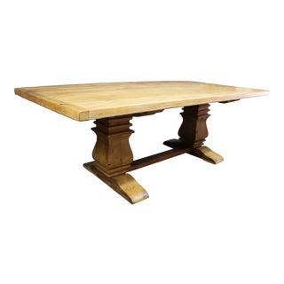 Rustic Custom Oak & Pine Trestle Base Farm Table For Sale