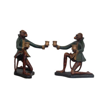 Vintage Monkey Candle Holders- A Pair For Sale