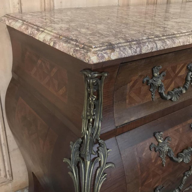 Burnt Umber 19th Century French Louis XIV Baroque Commode With Marble Top For Sale - Image 8 of 13
