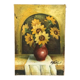 Miniature Vintage Mid-Century Modern Sunflower Painting, Signed For Sale