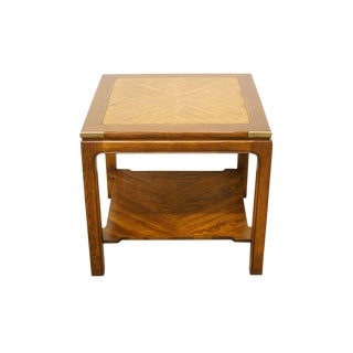 """Knob Creek Banded Mahogany Bookmatched Asian Style 24"""" Square End Table For Sale"""
