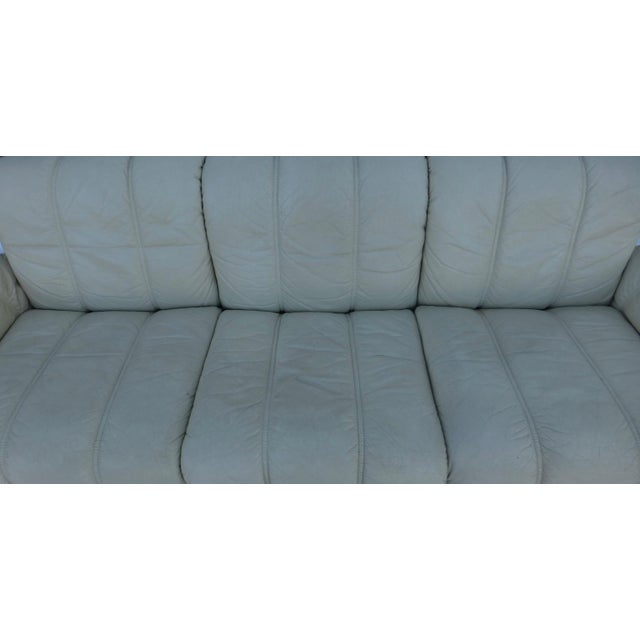 Animal Skin Ekornes Modern Teak & Leather Sofa For Sale - Image 7 of 11