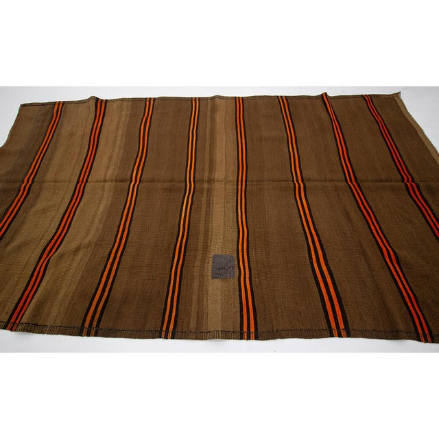 Contemporary 1960s Vintage Orange & Brown Striped Wool Kilim Rug- 5′10″ × 9′8″ For Sale - Image 3 of 7