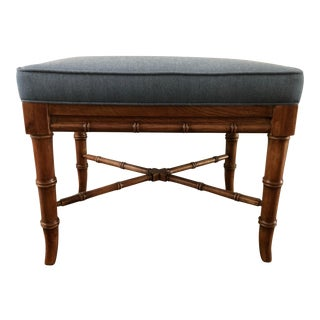 Vintage Faux Bamboo Ottoman For Sale