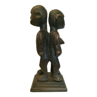 Vintage Nyamwezi Adjoining Male and Female Statue For Sale