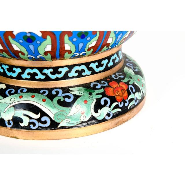 Vintage Gilt Brass Interior Cloisonné Decorative Vase For Sale - Image 9 of 11